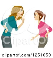 Clipart Of A Mother Arguing With Her Teenage Daughter Royalty Free Vector Illustration