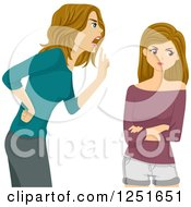 Clipart Of A Mother Scolding Her Teenage Daughter Royalty Free Vector Illustration