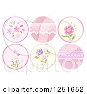 Clipart Of Round Shappy Chic Pink Flower And Lace Icons Royalty Free Vector Illustration
