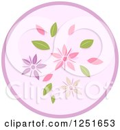 Clipart Of A Round Shappy Chic Purple Flower Icon Royalty Free Vector Illustration