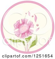 Clipart Of A Round Shappy Chic Pink Flower Icon Royalty Free Vector Illustration