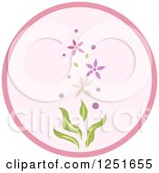 Clipart Of A Round Shappy Chic Pink Flowery Icon Royalty Free Vector Illustration