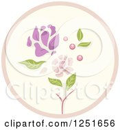 Clipart Of A Round Shappy Chic Flower Icon Royalty Free Vector Illustration