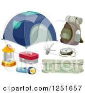 Clipart Of Camping And Hiking Gear Royalty Free Vector Illustration by BNP Design Studio