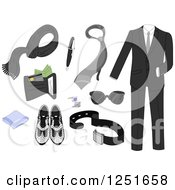 Clipart Of Formal Mens Accessories Royalty Free Vector Illustration