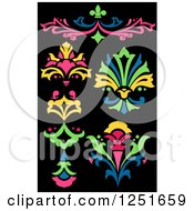 Clipart Of Neon Floral Designs On Black Royalty Free Vector Illustration