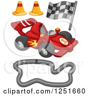 Clipart Of A Race Car And Track Items Royalty Free Vector Illustration