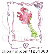 Clipart Of Pink And Purple Ribbon Borders With Pink Lilies Royalty Free Vector Illustration by BNP Design Studio