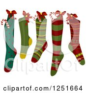 Clipart Of Patterned Christmas Stockings Royalty Free Vector Illustration