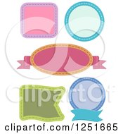 Clipart Of Colorful Stitched Labels Royalty Free Vector Illustration
