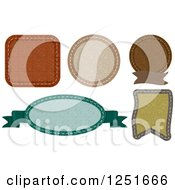 Clipart Of Stitched Earth Toned Labels Royalty Free Vector Illustration