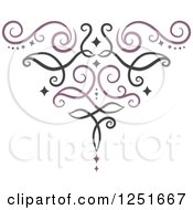 Clipart Of A Purple And Black Ornate Swirl Royalty Free Vector Illustration