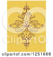 Clipart Of A Decorative Swirl On Yellow Royalty Free Vector Illustration