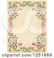 Clipart Of A Decorative Red And Green Swirl Border Royalty Free Vector Illustration by BNP Design Studio