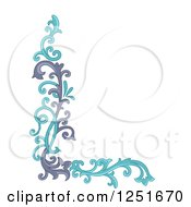 Clipart Of A Purple And Blue Ornate Floral Corner Border Royalty Free Vector Illustration