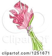 Clipart Of A Bouquet Of Pink Lilies Royalty Free Vector Illustration by BNP Design Studio