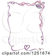 Clipart Of A Pink And Purple Ribbon Border With Wedding Bells And Hearts Royalty Free Vector Illustration by BNP Design Studio