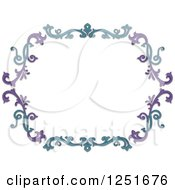 Clipart Of A Purple And Blue Floral Border Royalty Free Vector Illustration