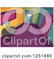 Clipart Of A Colorful Foyer Interior Royalty Free Vector Illustration