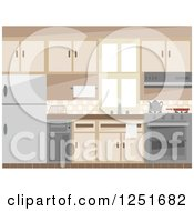 Clipart Of A Kitchen Interior Royalty Free Vector Illustration