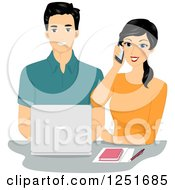 Clipart Of A Happy Couple Working Together With A Laptop And Cell Phone Royalty Free Vector Illustration by BNP Design Studio