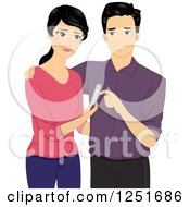 Clipart Of A Dissapointed Couple With A Negative Pregnancy Test Royalty Free Vector Illustration