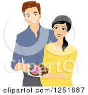 Clipart Of A Happy Expecting Couple Revealing The Gender Of Their Baby As A Girl With A Pink Cake Royalty Free Vector Illustration