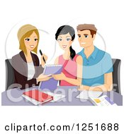 Clipart Of A Couple Going Over Their Wedding With A Planner Royalty Free Vector Illustration