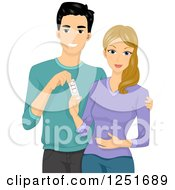Happy Couple With A Positive Pregnancy Test