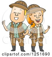 Clipart Of A Safari Couple Holding Thumbs Up Royalty Free Vector Illustration