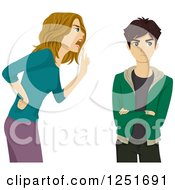 Clipart Of A Mother Scolding Her Teenage Son Royalty Free Vector Illustration
