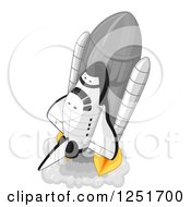 Clipart Of A Launching Rocket Royalty Free Vector Illustration