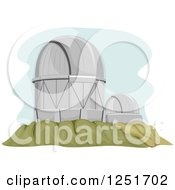 Clipart Of A Large Hilltop Telescope Facility Royalty Free Vector Illustration by BNP Design Studio