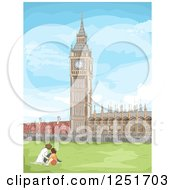 Clipart Of A Sketched Park And Big Ben In London Royalty Free Vector Illustration by BNP Design Studio