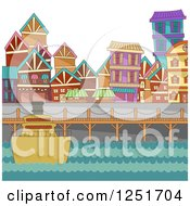 Clipart Of A Boat At A Port With Buildings Royalty Free Vector Illustration