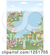 Clipart Of A Coastal Theme Park Royalty Free Vector Illustration