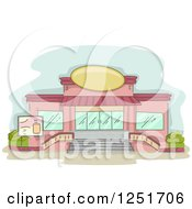 Clipart Of A Cafe And Super Market Exterior Royalty Free Vector Illustration