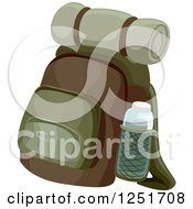 Clipart Of A Camping Or Hiking Backpack Royalty Free Vector Illustration