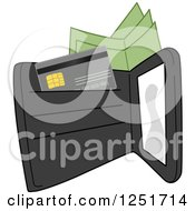 Clipart Of A Black Wallet With Cash And A Credit Card Royalty Free Vector Illustration