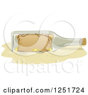 Clipart Of A Treasure Map In A Bottle On A Beach Royalty Free Vector Illustration
