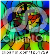 Clipart Of A Stained Glass Calvary Design Royalty Free Illustration