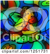 Clipart Of A Stained Glass Thinking Cherub Design Royalty Free Illustration by Prawny
