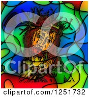Stained Glass Design Of Jesus And The Crown Of Thorns