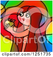 Clipart Of A Stained Glass Eve And The Temptation Of Forbidden Fruit Royalty Free Illustration