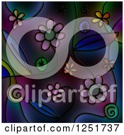 Stained Glass Background Of Flowers