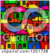 Bright Colored Village Stained Glass Background