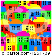 Clipart Of A Bright Colored Village Background Royalty Free Illustration