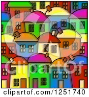 Stained Glass Design Of Colorful Village Homes