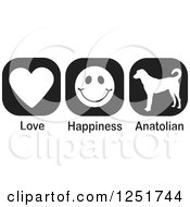 Clipart Of Black And White Love Happiness And Anatolian Shepherd Dog Icons Royalty Free Vector Illustration