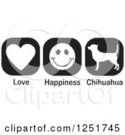 Clipart Of Black And White Love Happiness And Chihuahua Dog Icons Royalty Free Vector Illustration